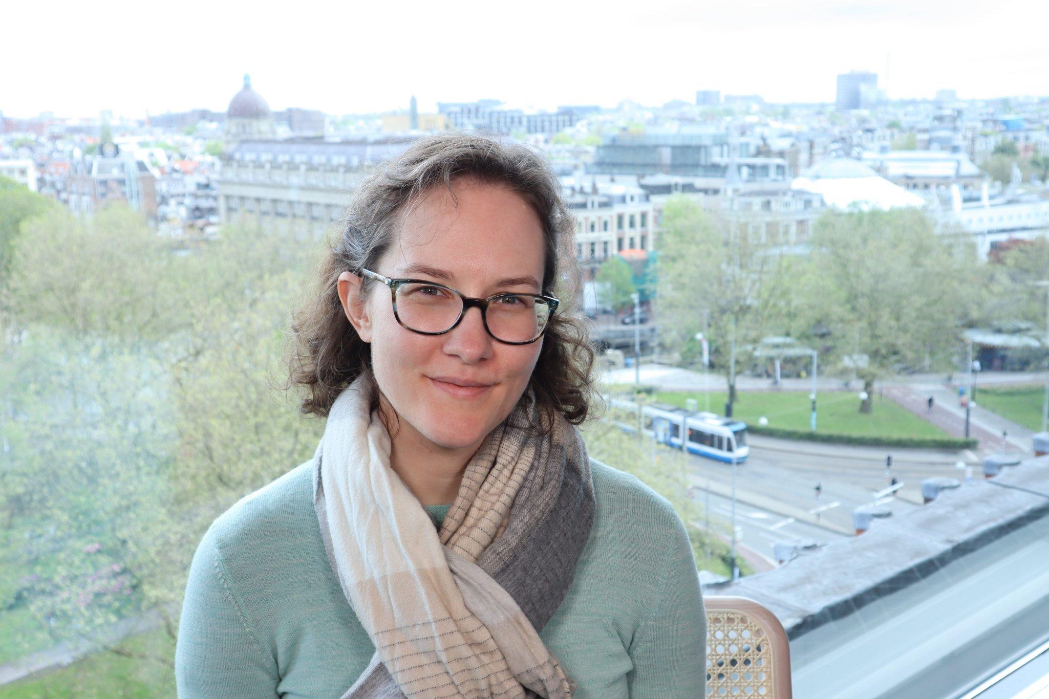 woman overlooking Amsterdam