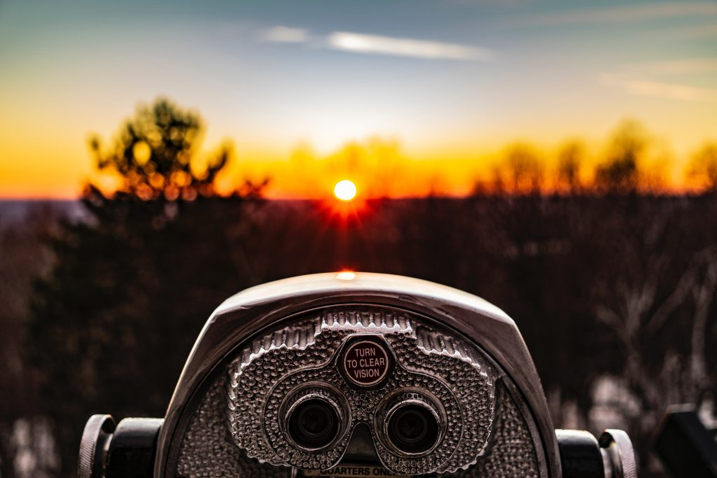 view finder towards sunset
