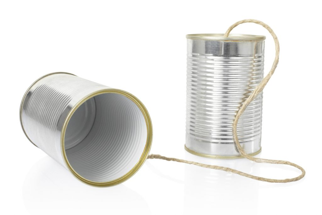 2 soup cans and a string